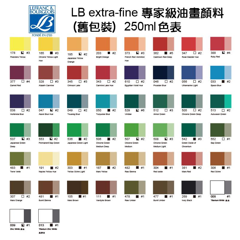 LB專家級油畫顏料(舊包裝)-250ml色表 790x790
