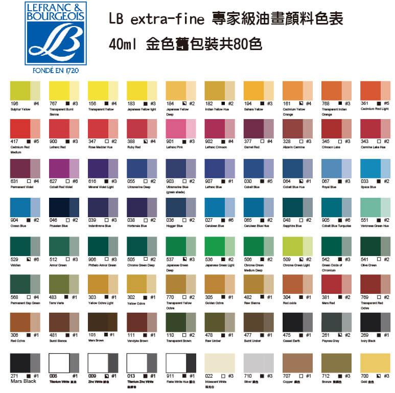 LB專家級油畫顏料(舊包裝)-40ml色表-790x790