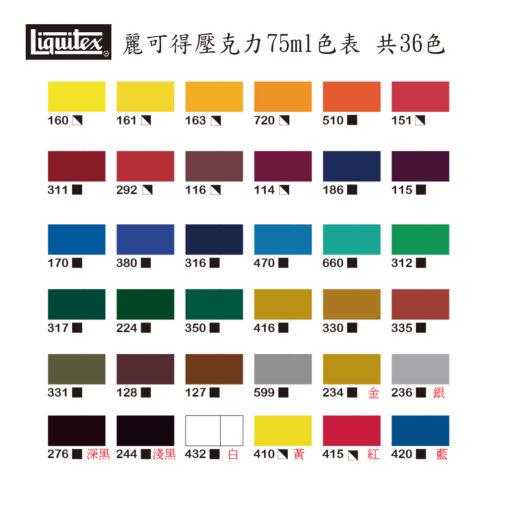 Liquitex Acrylic Basic 75ml - color chart