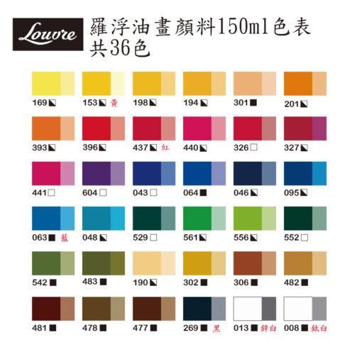 Louvre oil 150ml - color chart